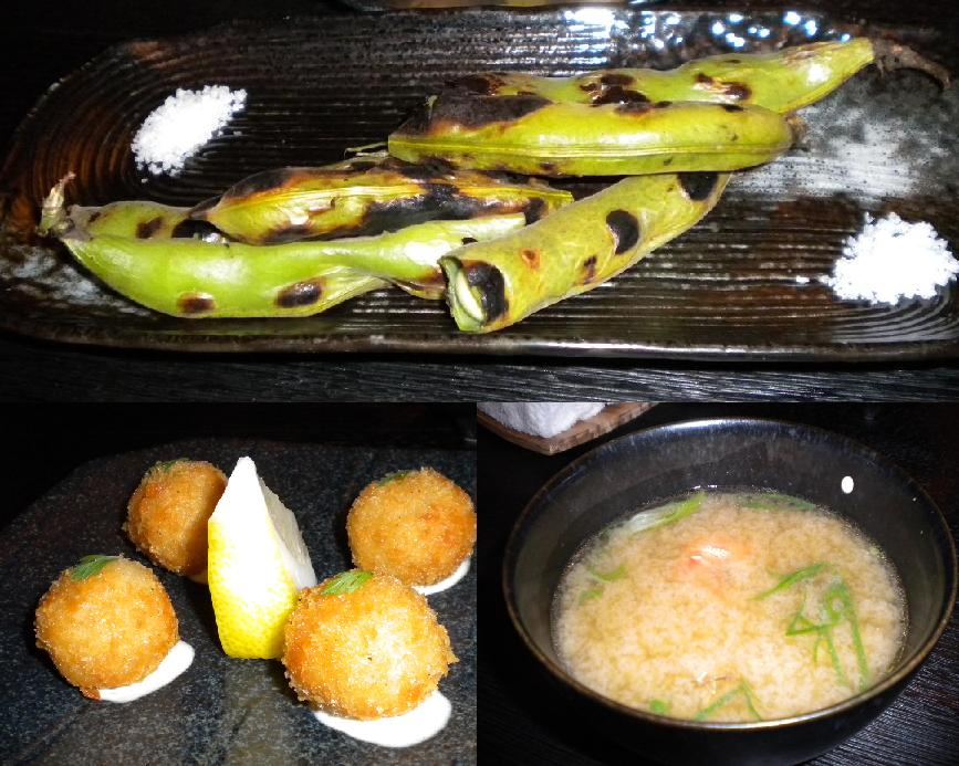 Grilled broad beans, potato croquettes and miso soup with sand crab